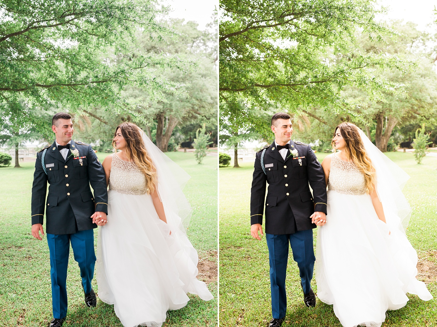 photographic editing comparison between 2 wedding portrait photos