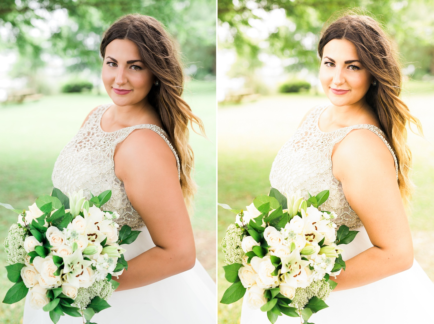 comparison of two bridal portraits with different editing techniques