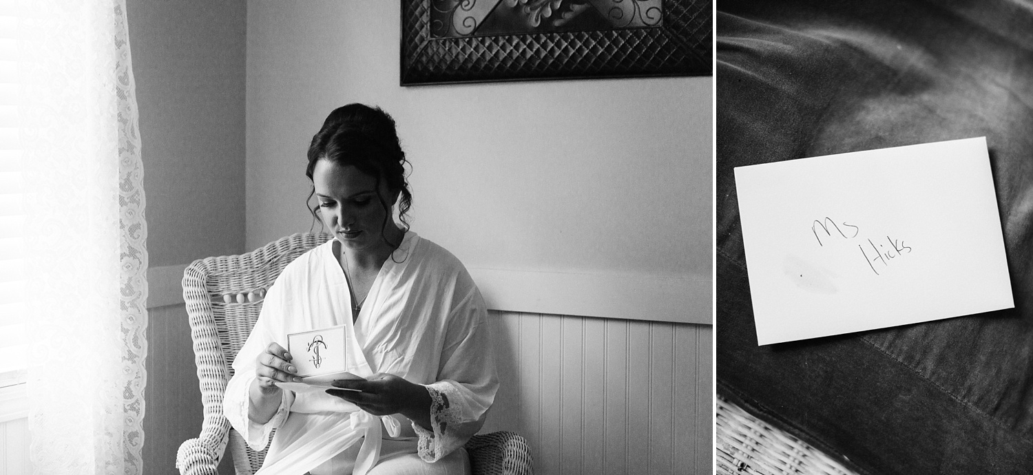 bride reads a note from her groom on their wedding day