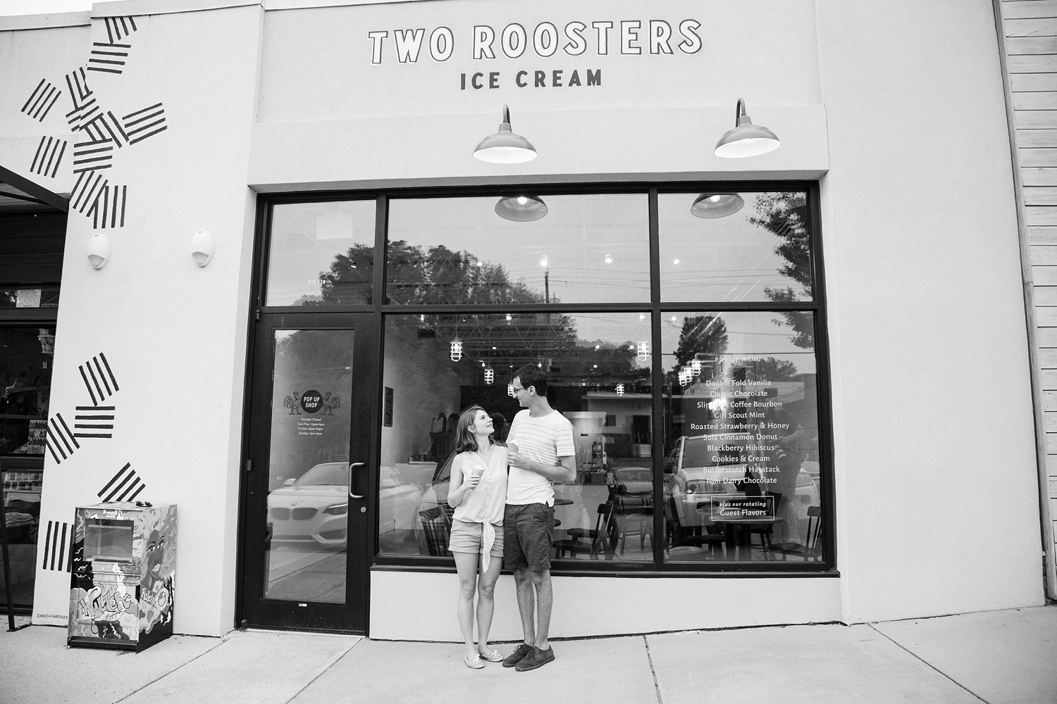 lifestyle engagement session at an ice cream shop