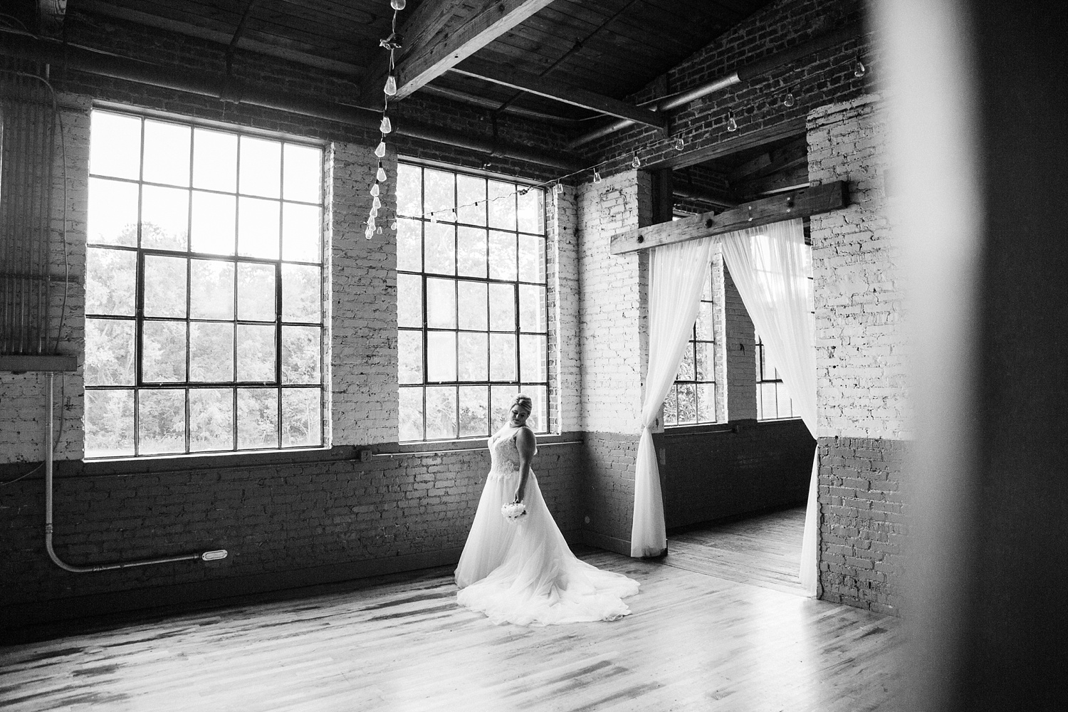 bridal portrait at forest hall at chatham mills by rachael bowman photography