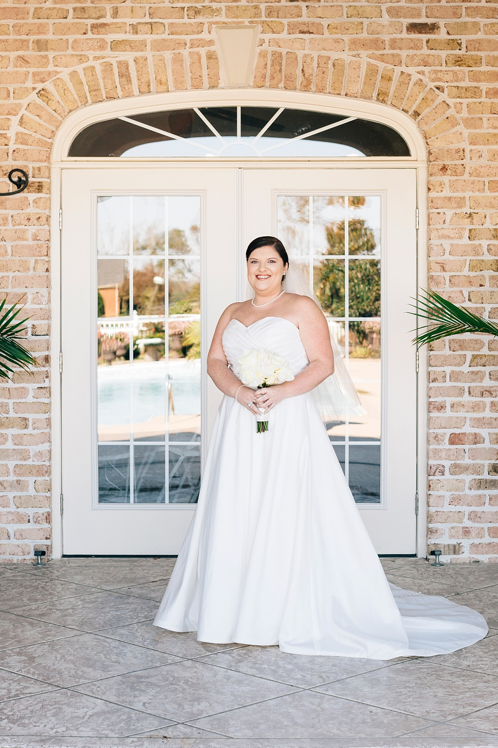 bridal portrait at the brock family pool house by rachael bowman photography
