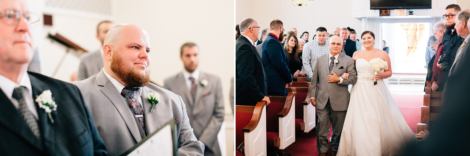 grooms reaction to seeing his bride walk down the aisle at their church