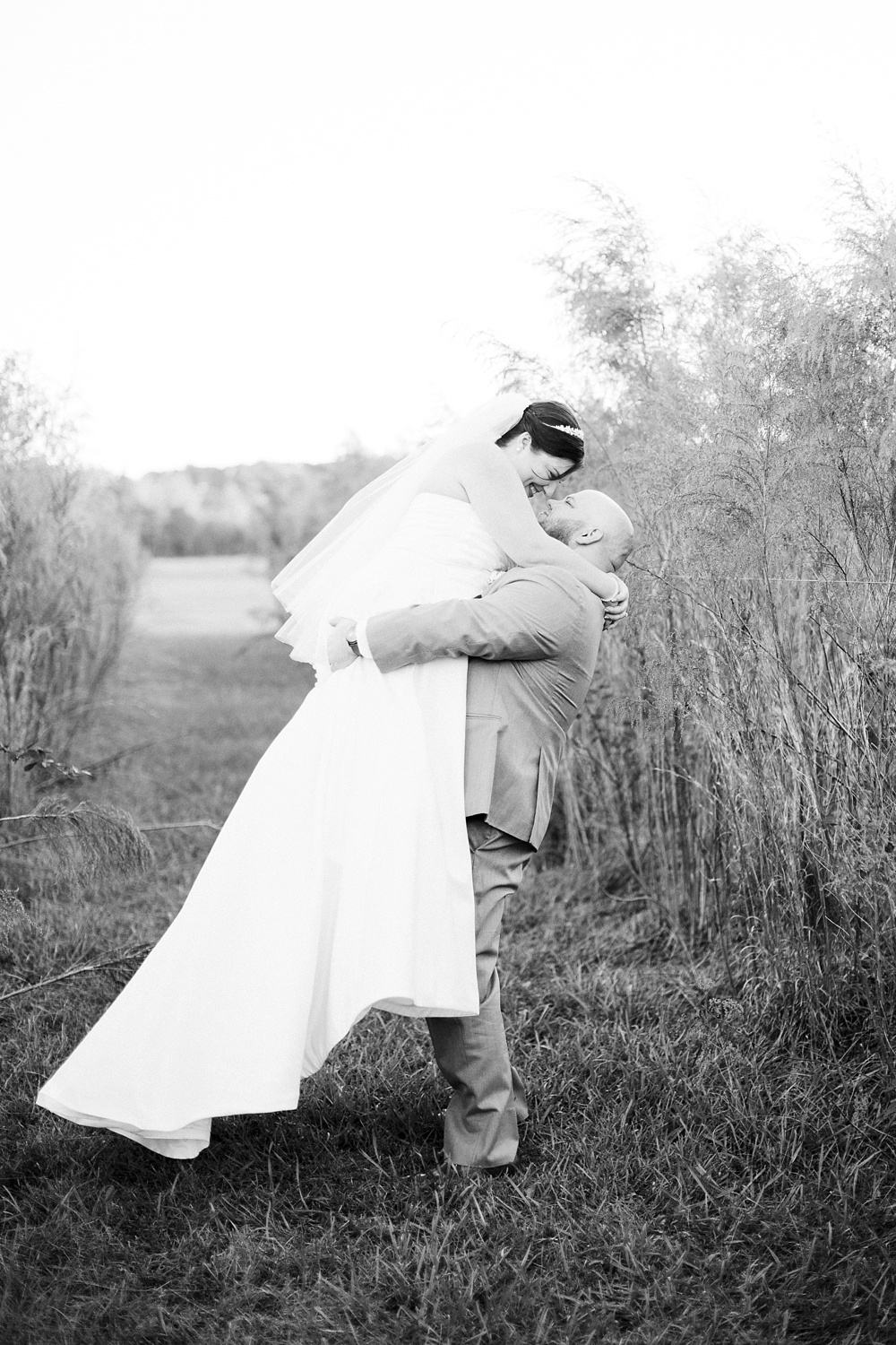 bride and groom at brock family farm