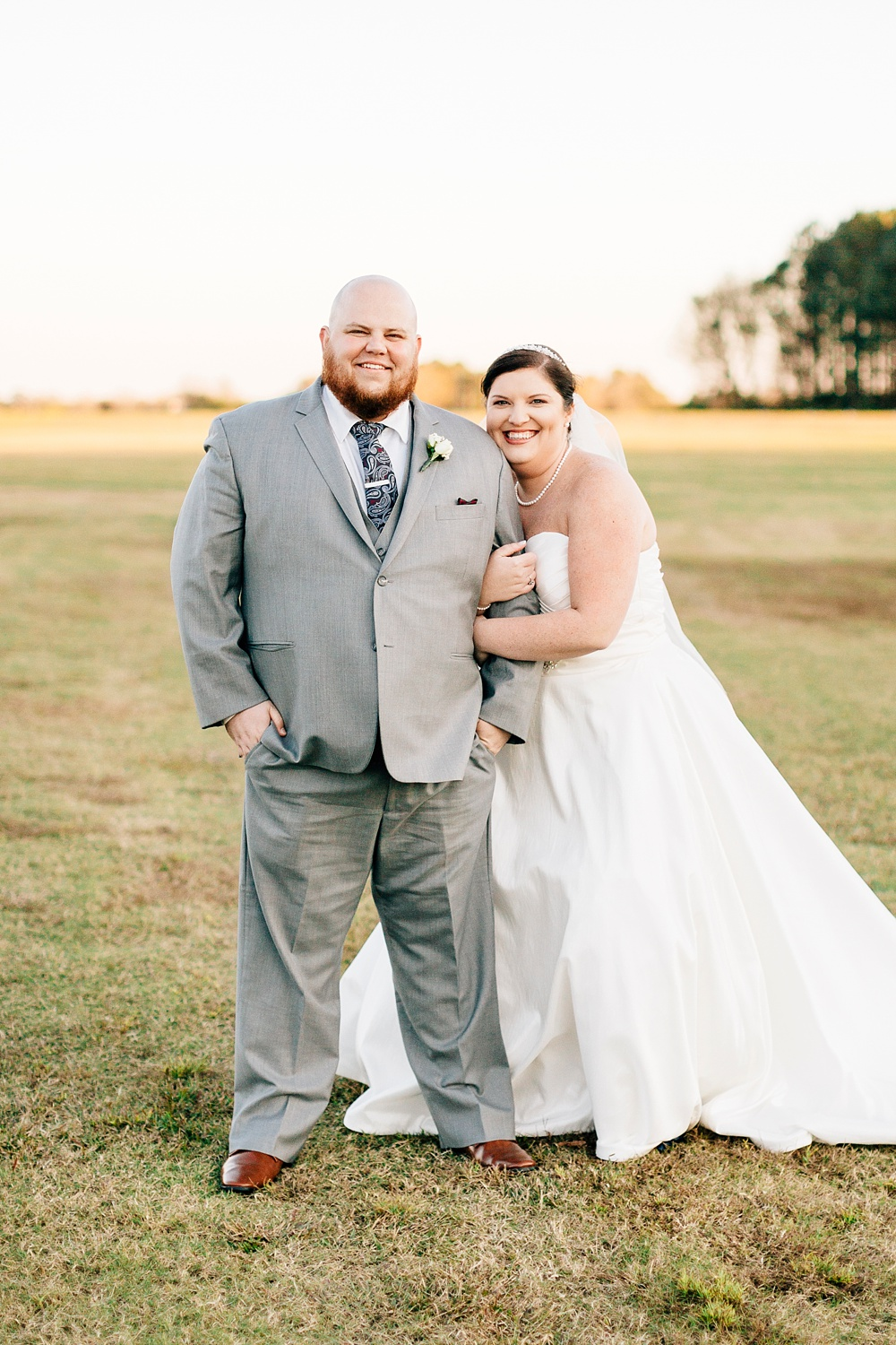 bride and groom at brock family farms