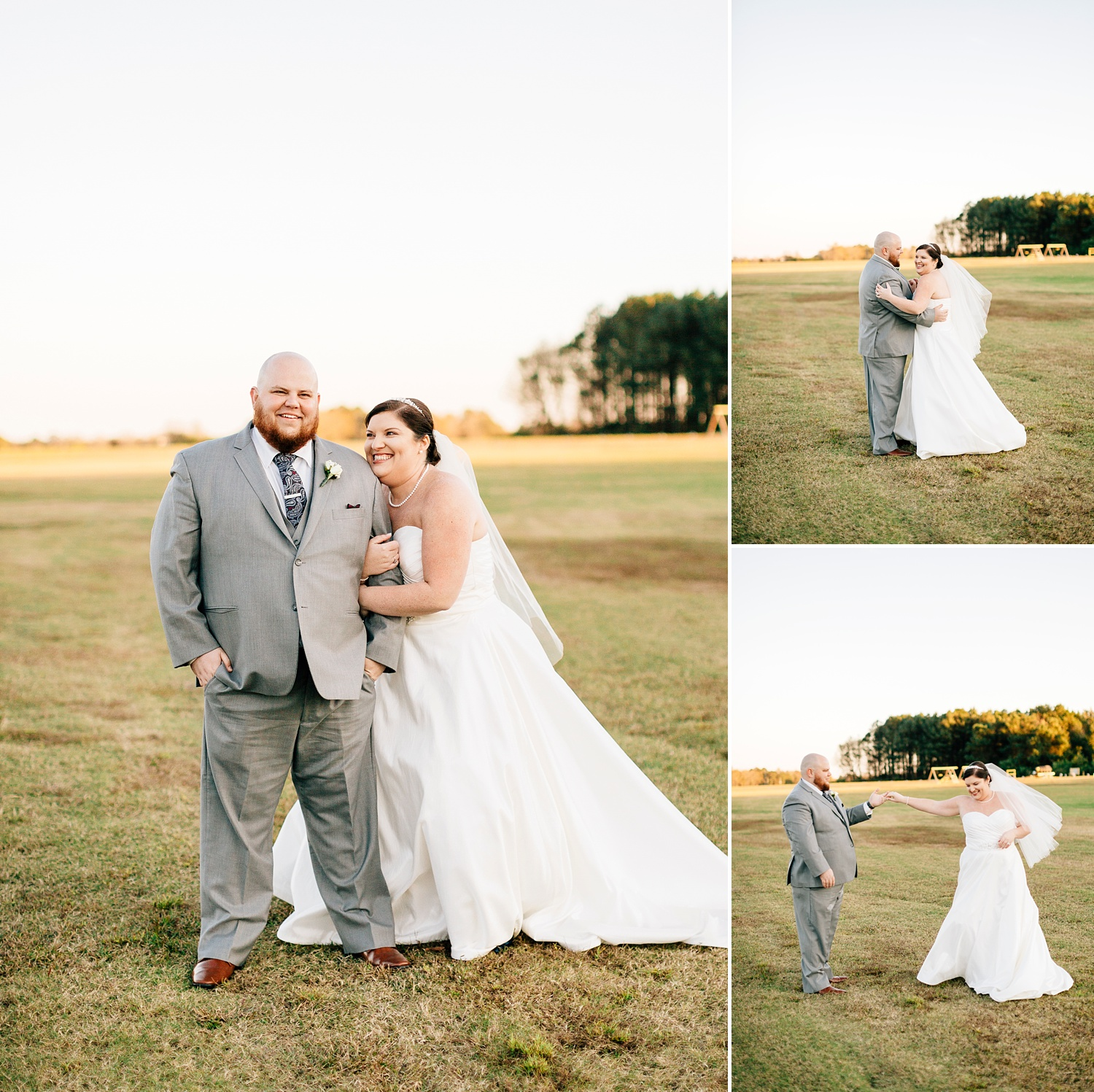 bride and groom in the fields at the cotton barn by rachael bowman photography
