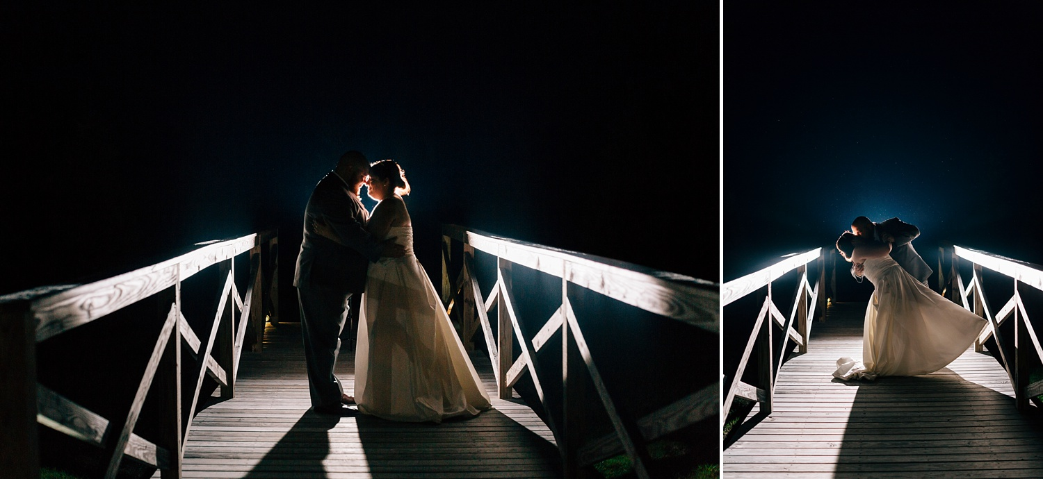 backlit image of bride and groom on a bride at night