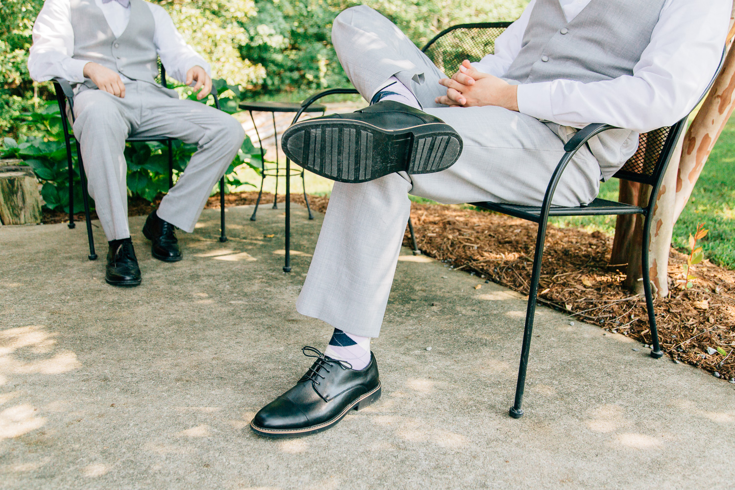 Image of wedding day shoes and socks by Rachel Bowman and Jared Bowman