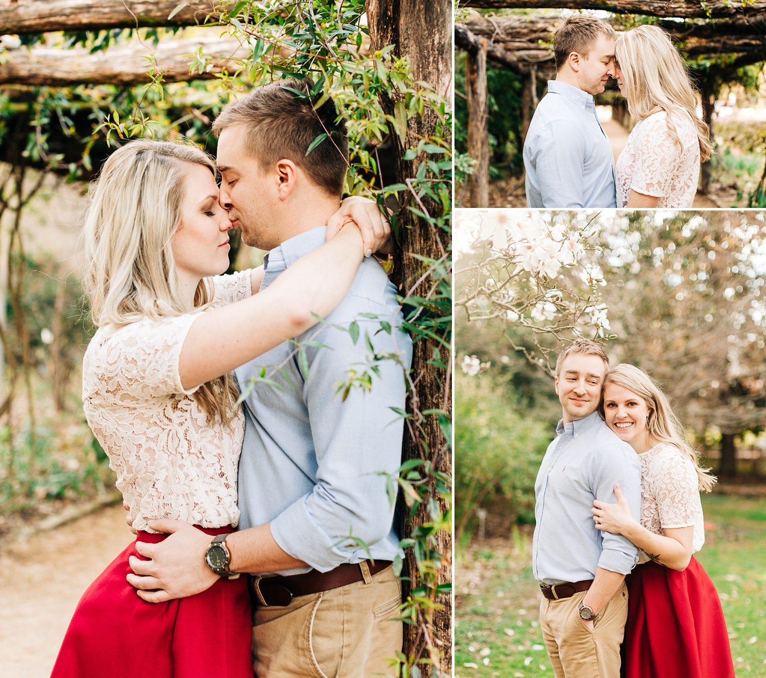 engagement session under the arbor at coker arboretum by rachael bowman photography