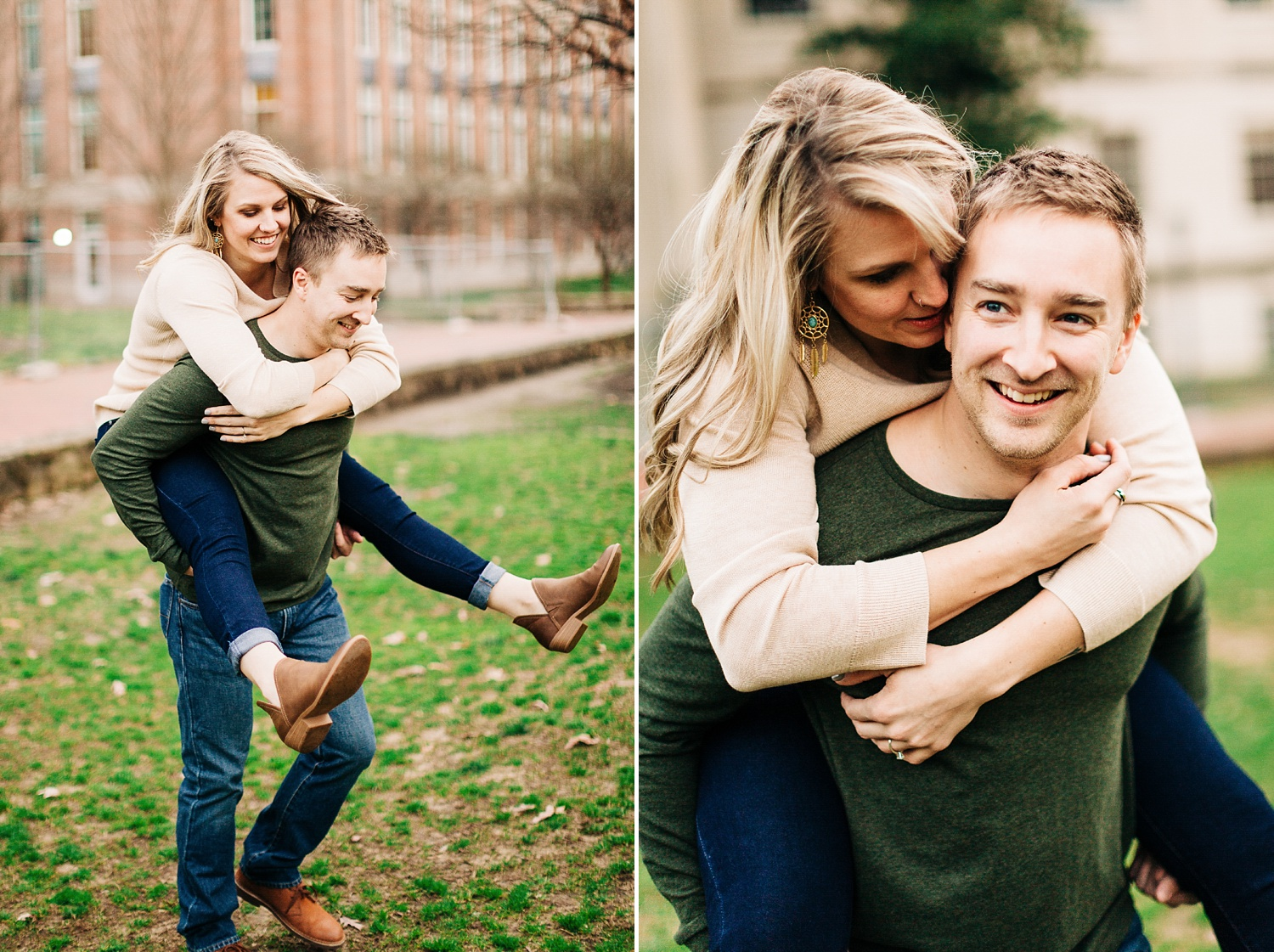 man gives his fiance a piggyback ride
