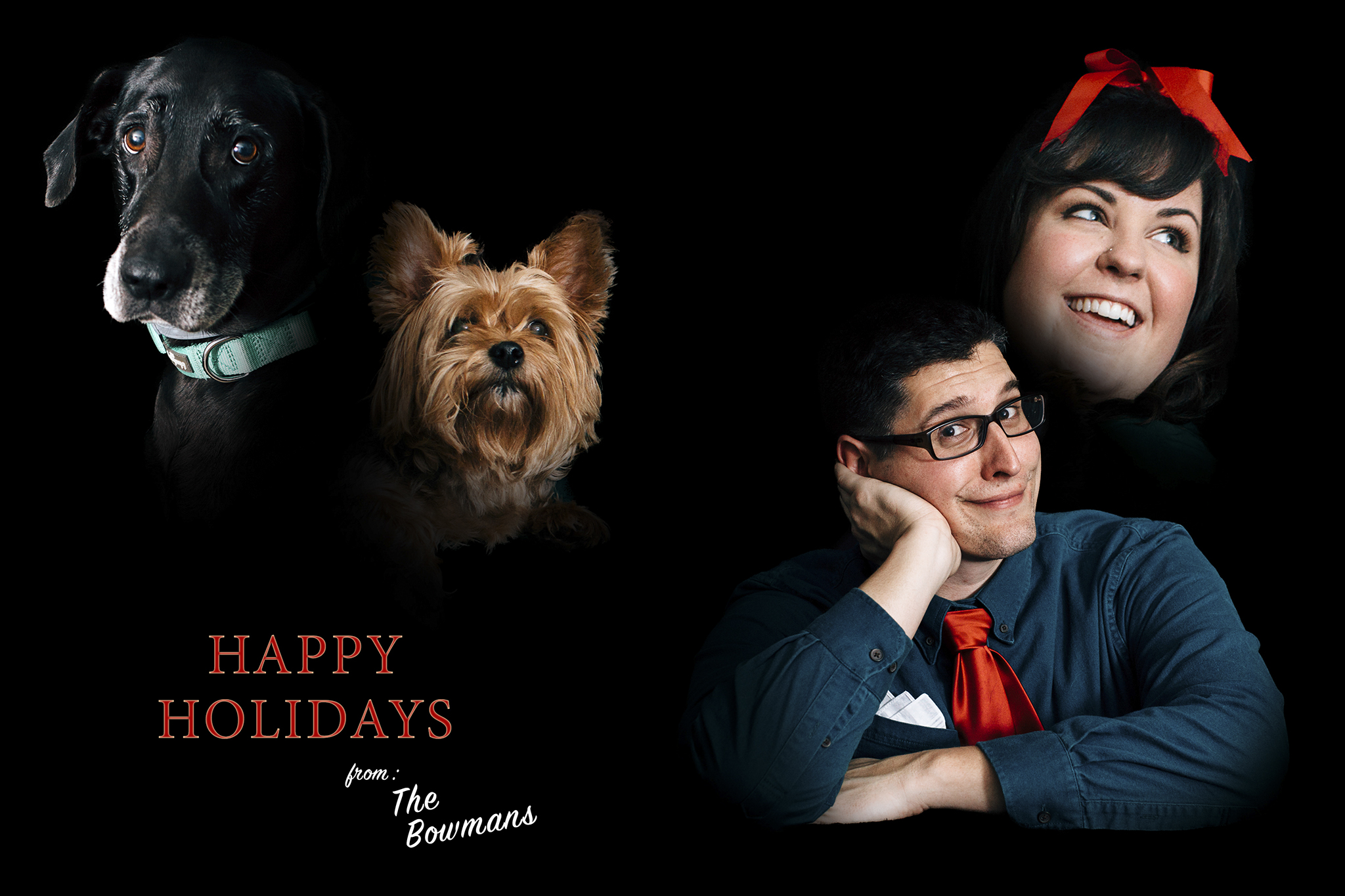 Goofy holiday card of family + dogs