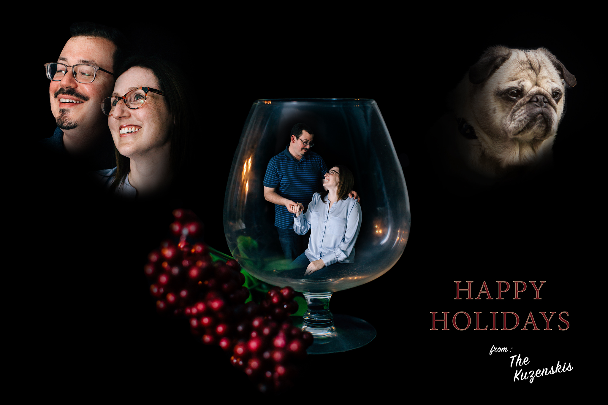 John and Brandy Kuzenski with Max on derpy holiday card