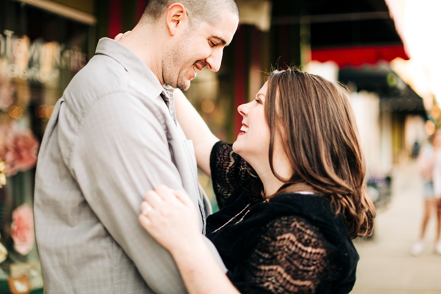 outdoor engagment session in downtown apex, north carolina