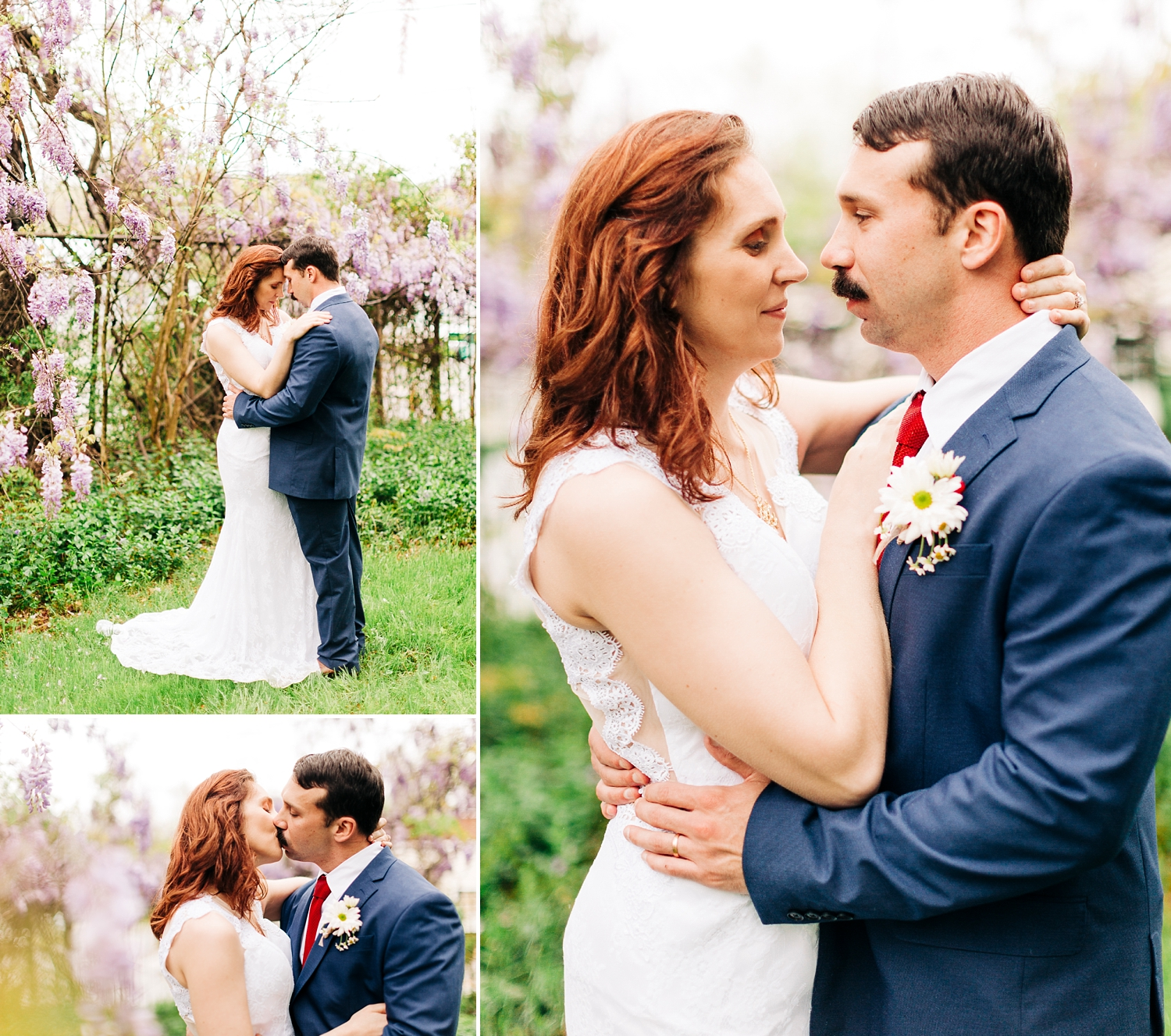 bride and groom portraits in a wisteria filled garden