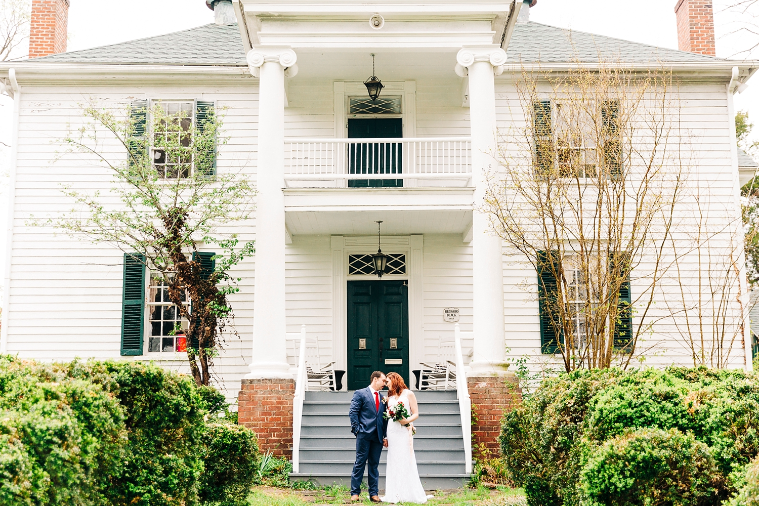 bride and groom in front of the boxley wedding venue