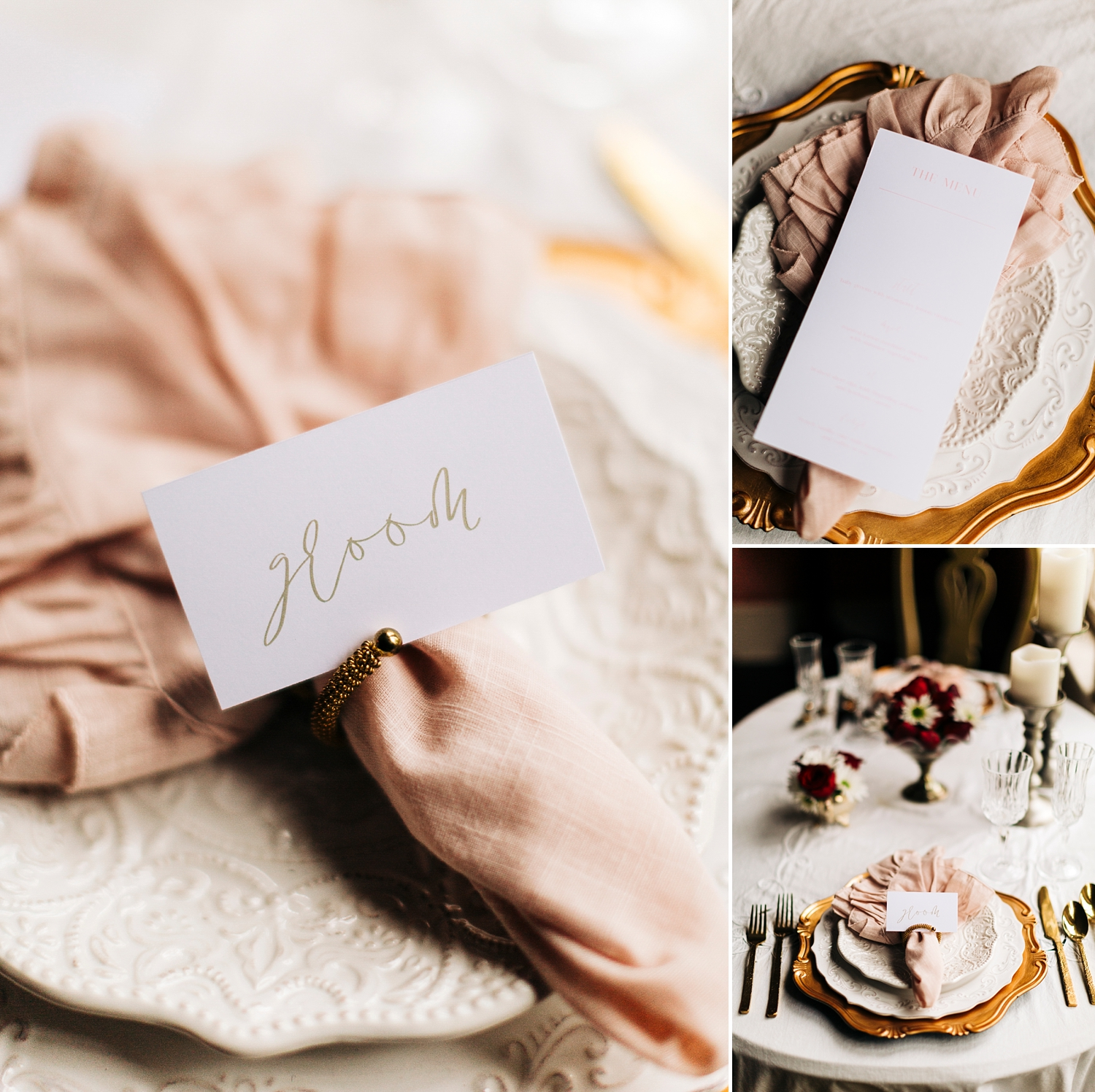 blush and gold romantic sweetheart tablescape