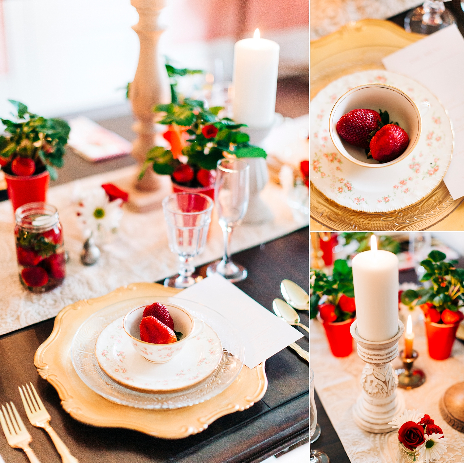 strawberry themed wedding reception tablescape