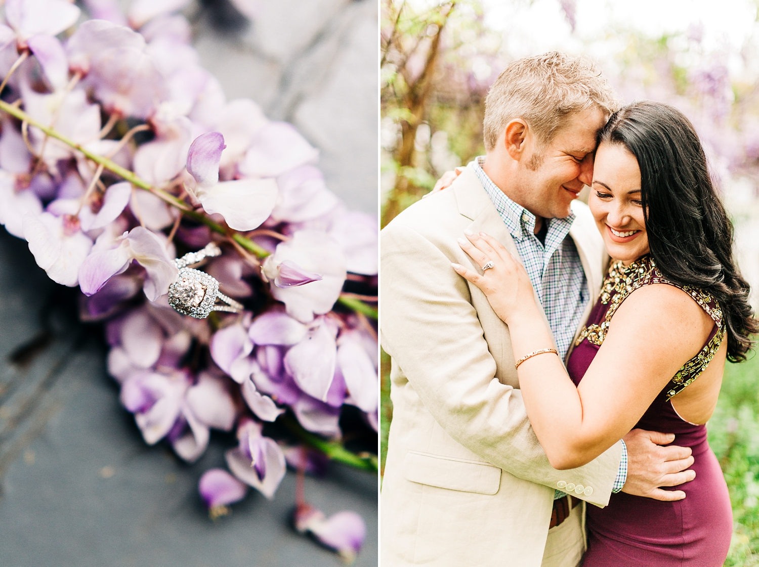 romantic wisteria engagement session by rachael bowman photography