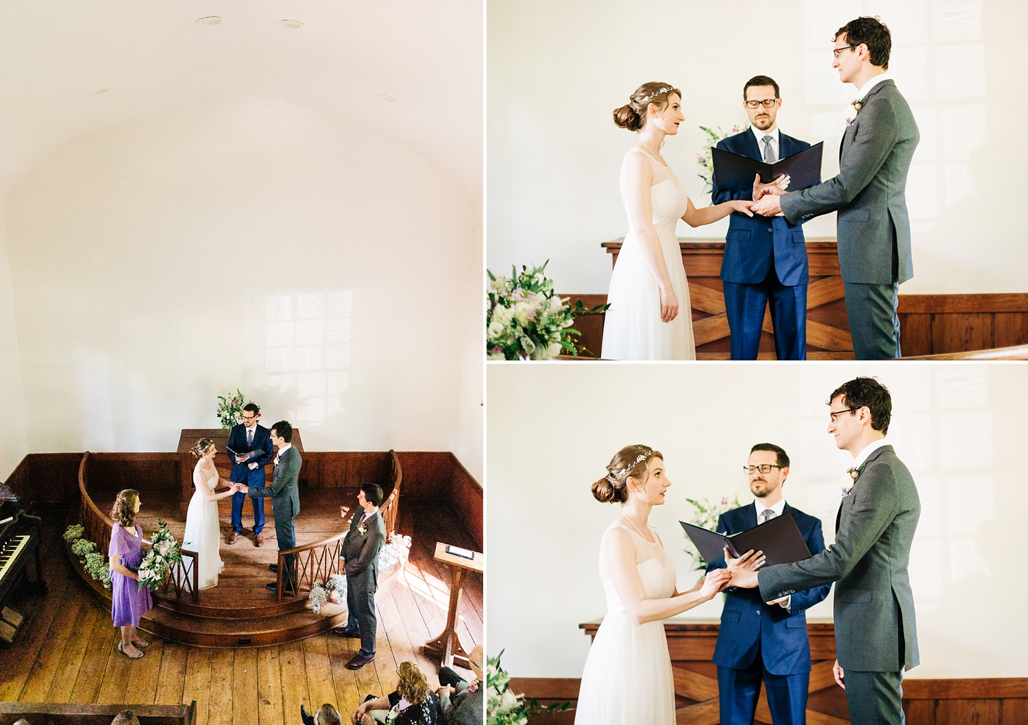 wedding ceremony in raleigh's st. mark's chapel in mordecai park