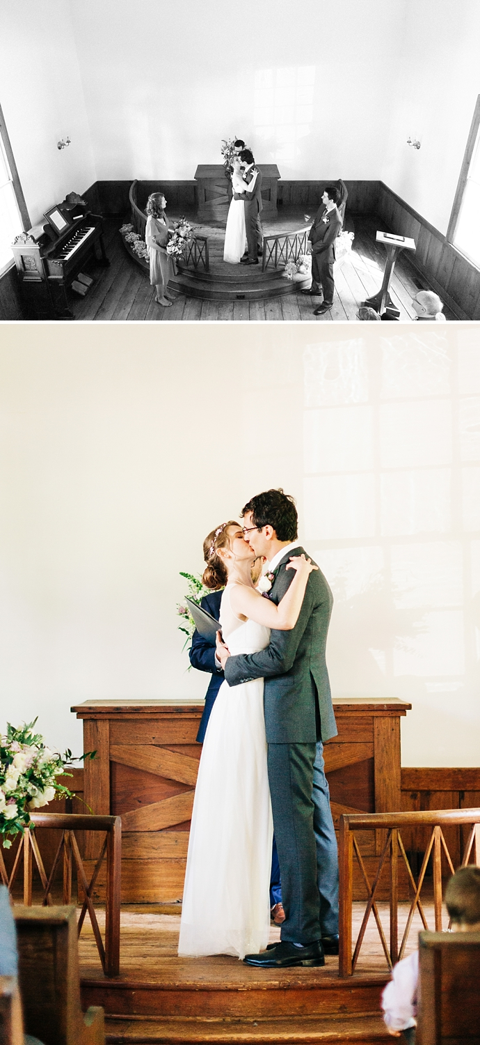 ceremony kiss at st. mark's chapel in raleigh, nc by rachael bowman photography