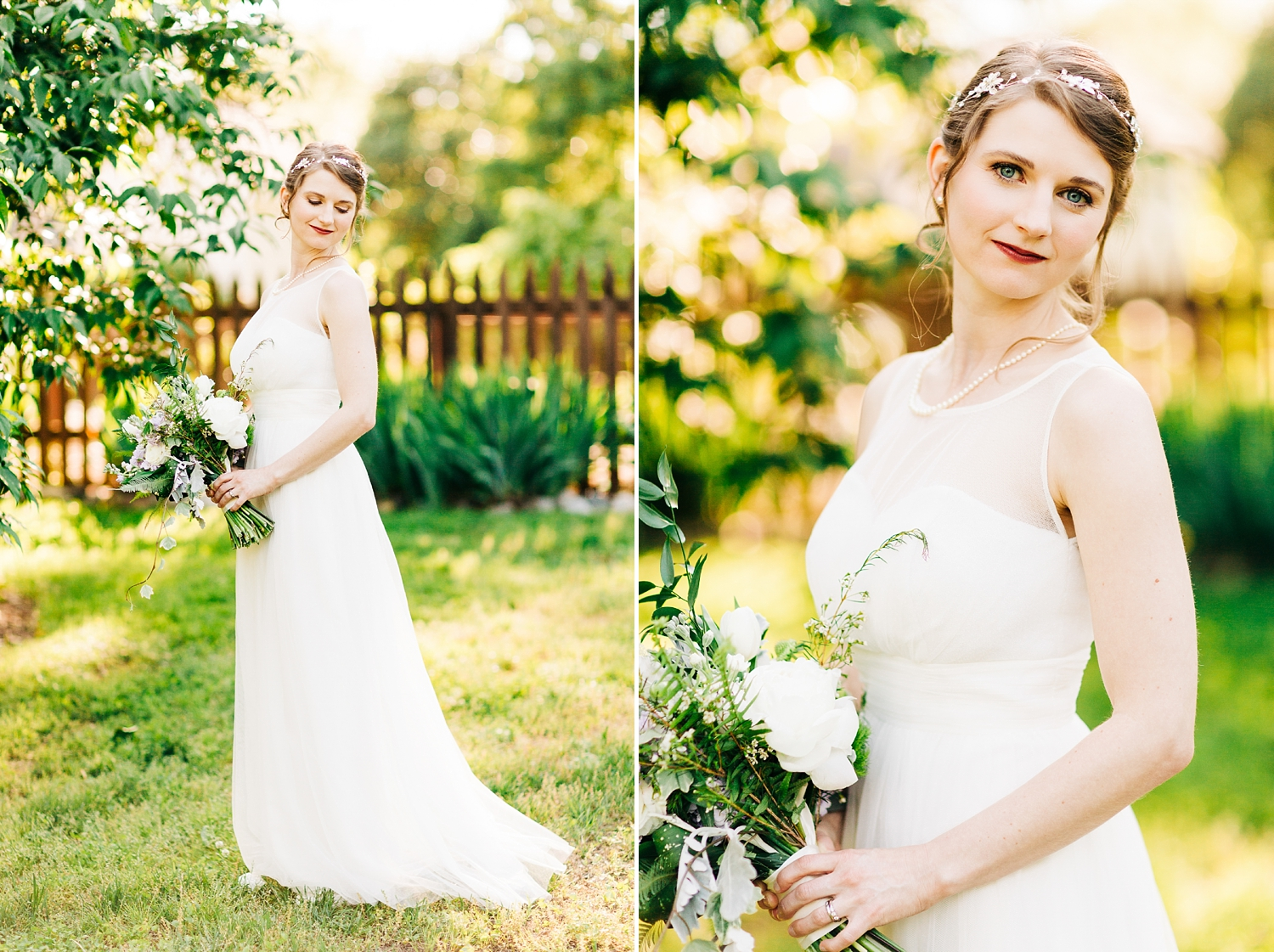 bridal portrait in the gardens at mordecai park in downtown raleigh by rachael bowman photography