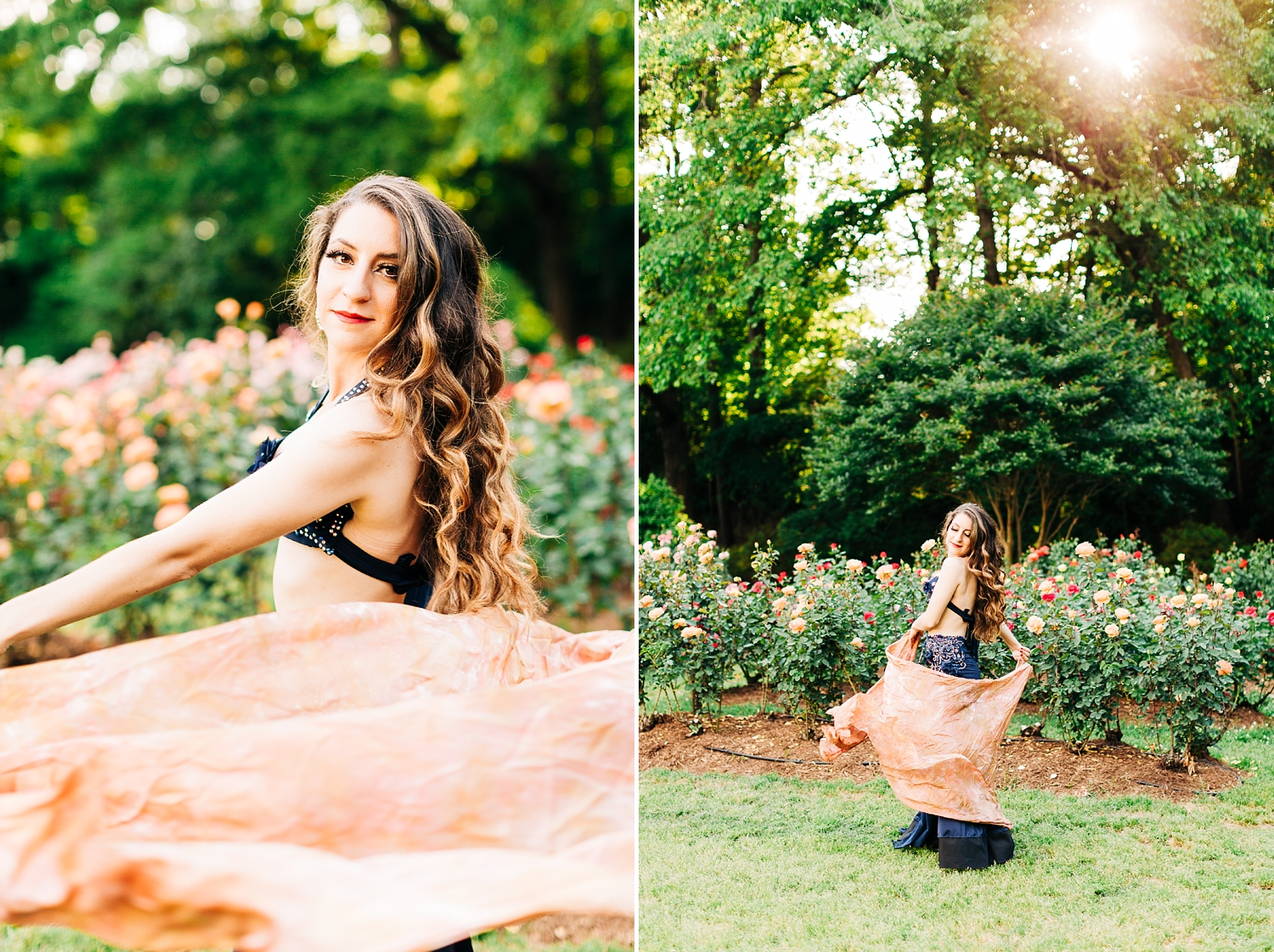 Promo session at the Raleigh Rose Garden with Belly Dancing with Jackie