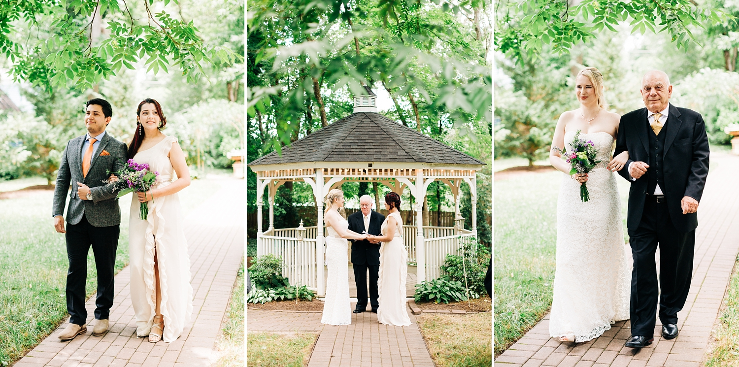 same sex wedding ceremony at cooper's landing inn by rachael bowman photography
