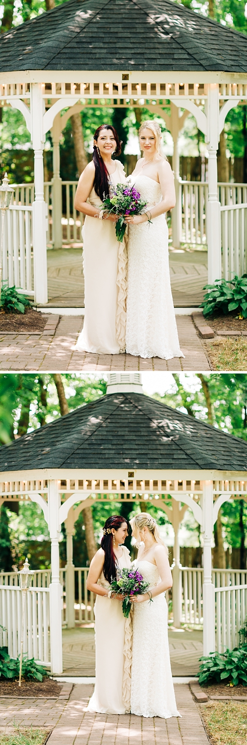 brides in front of a white wedding gazebo