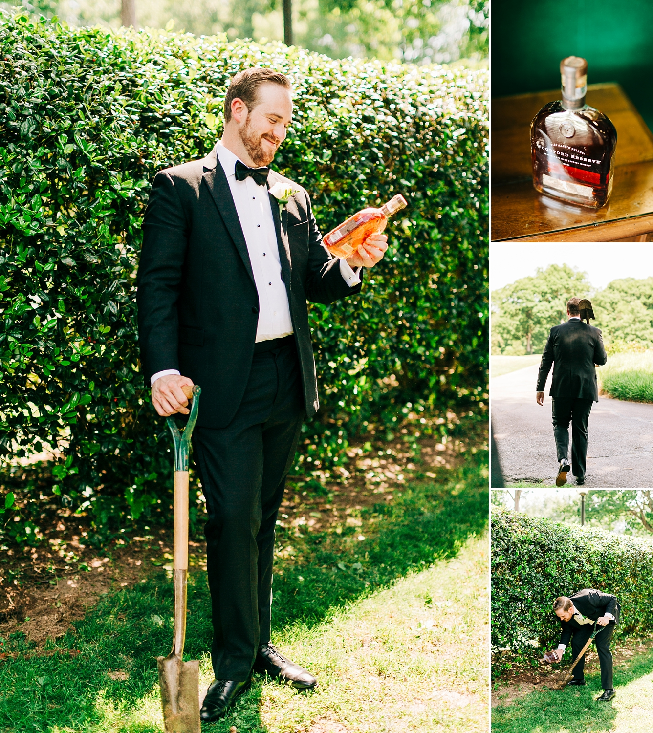 groom digs up bourbon on the wedding day