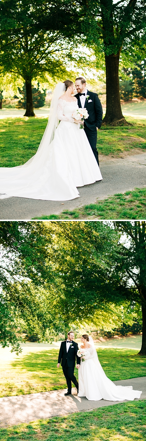 bride and groom portraits on the course at danville golf club