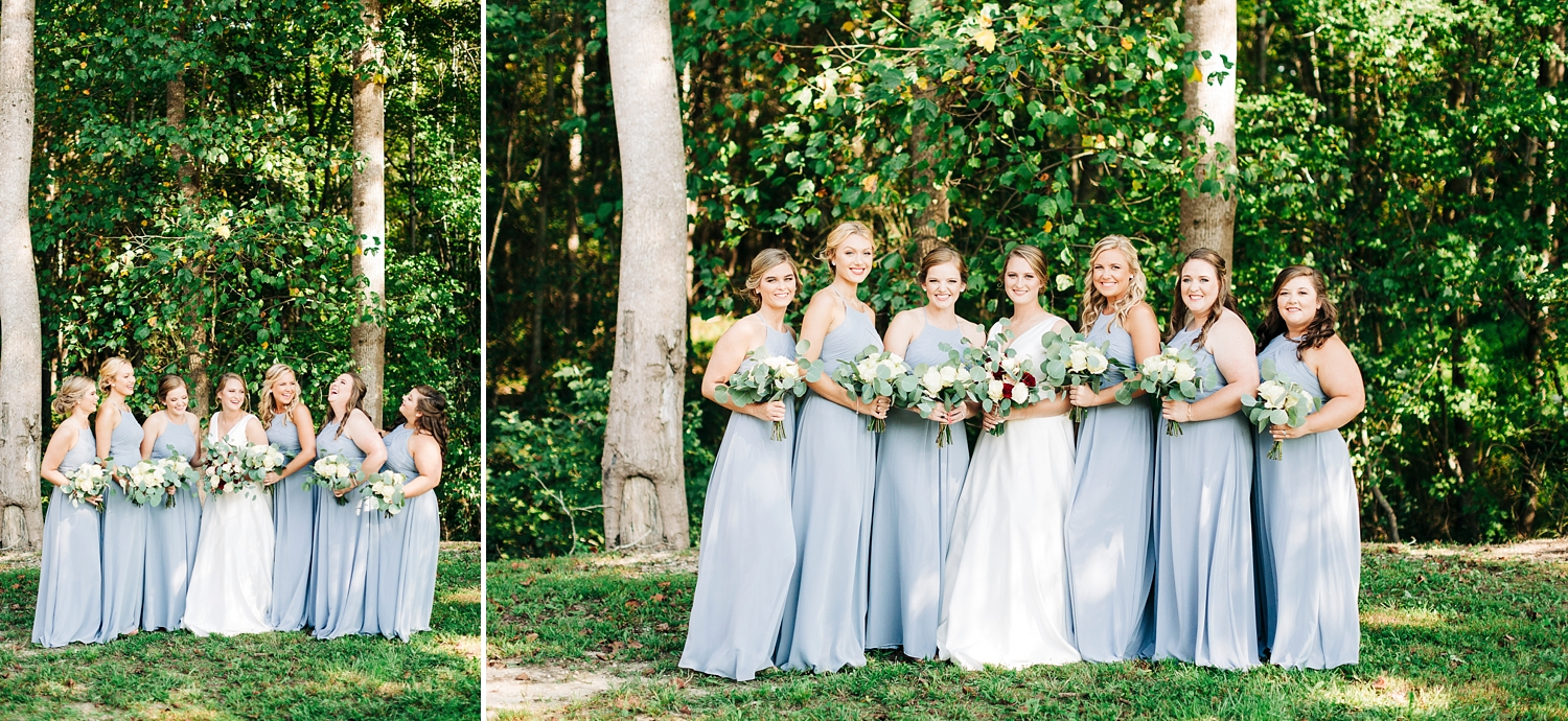 bridesmaids in dusty blue dresses