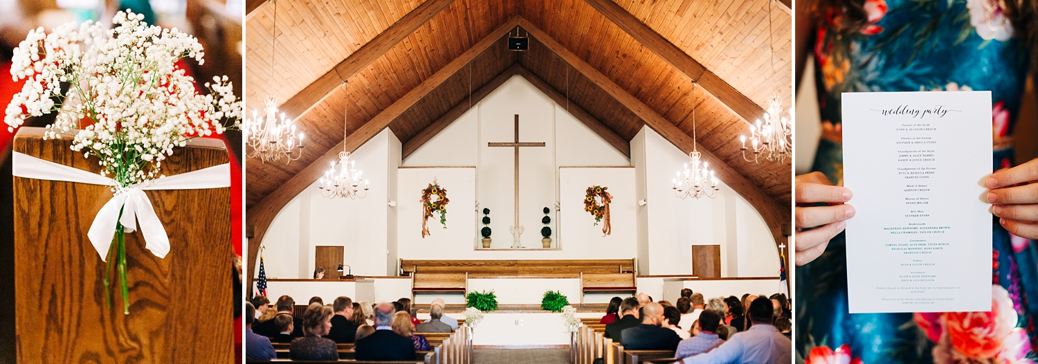 wedding ceremony at baptist tabernacle church in wendell, nc