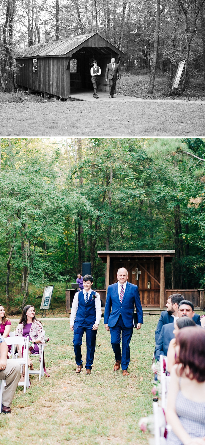 bride walks down the aisle with the pastor
