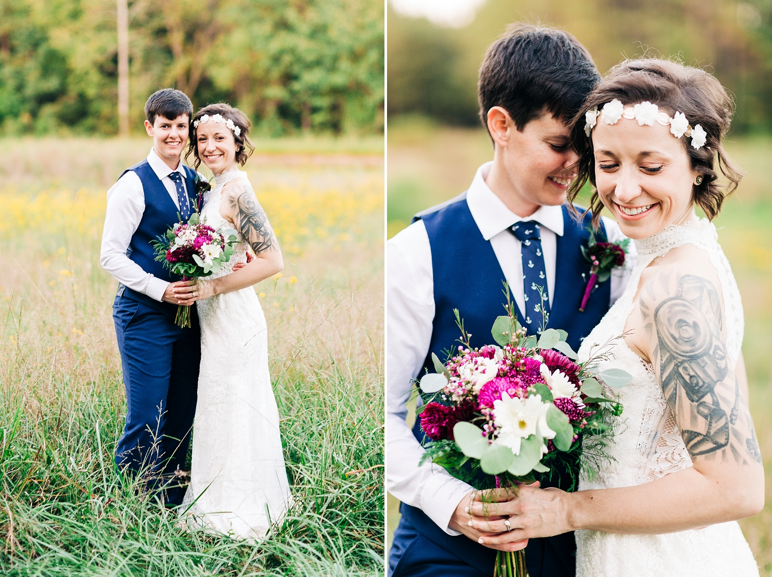 brides in the fields at carlee farm in oxford, north carolina