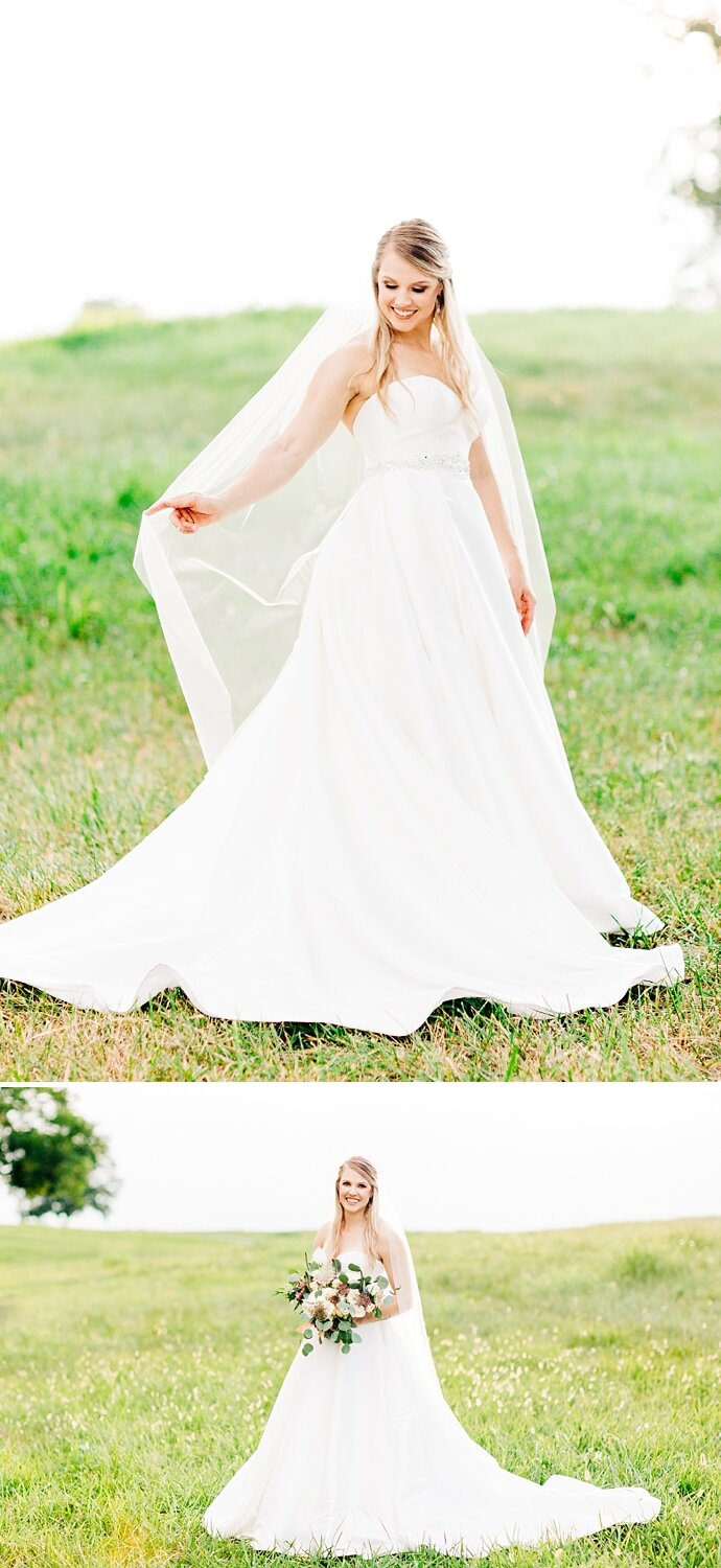 outdoor bridal session in a summertime pasture