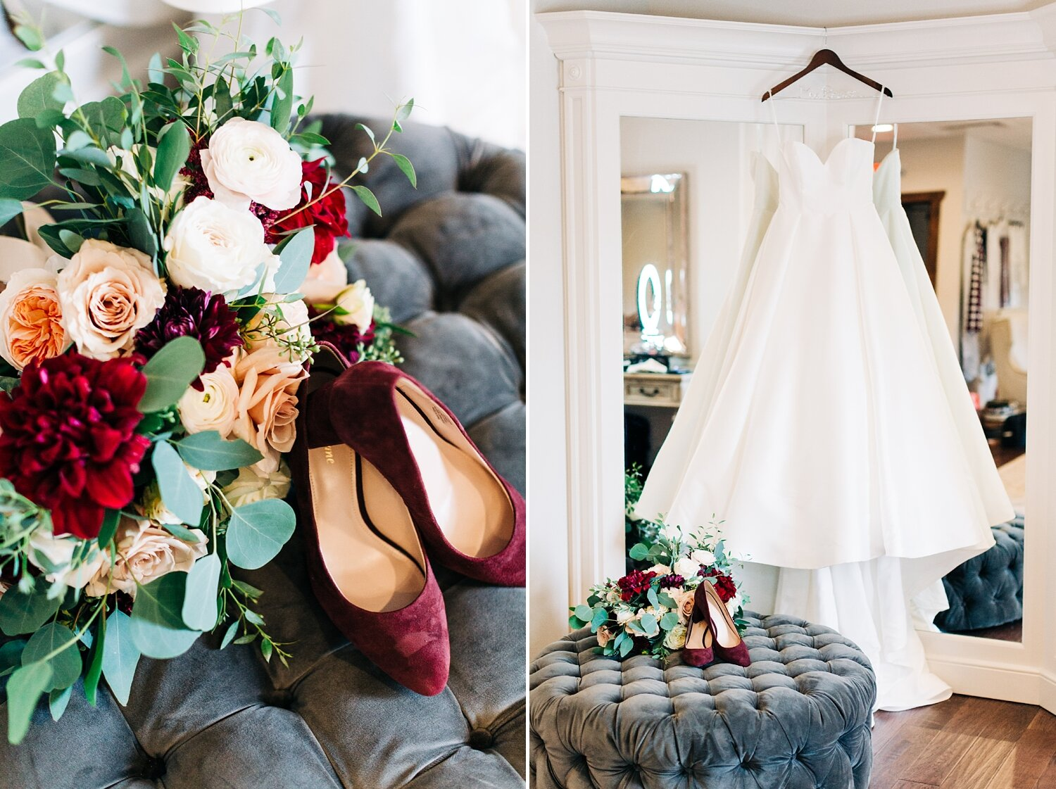 wedding dress hangs from the mirror in the bridal suite