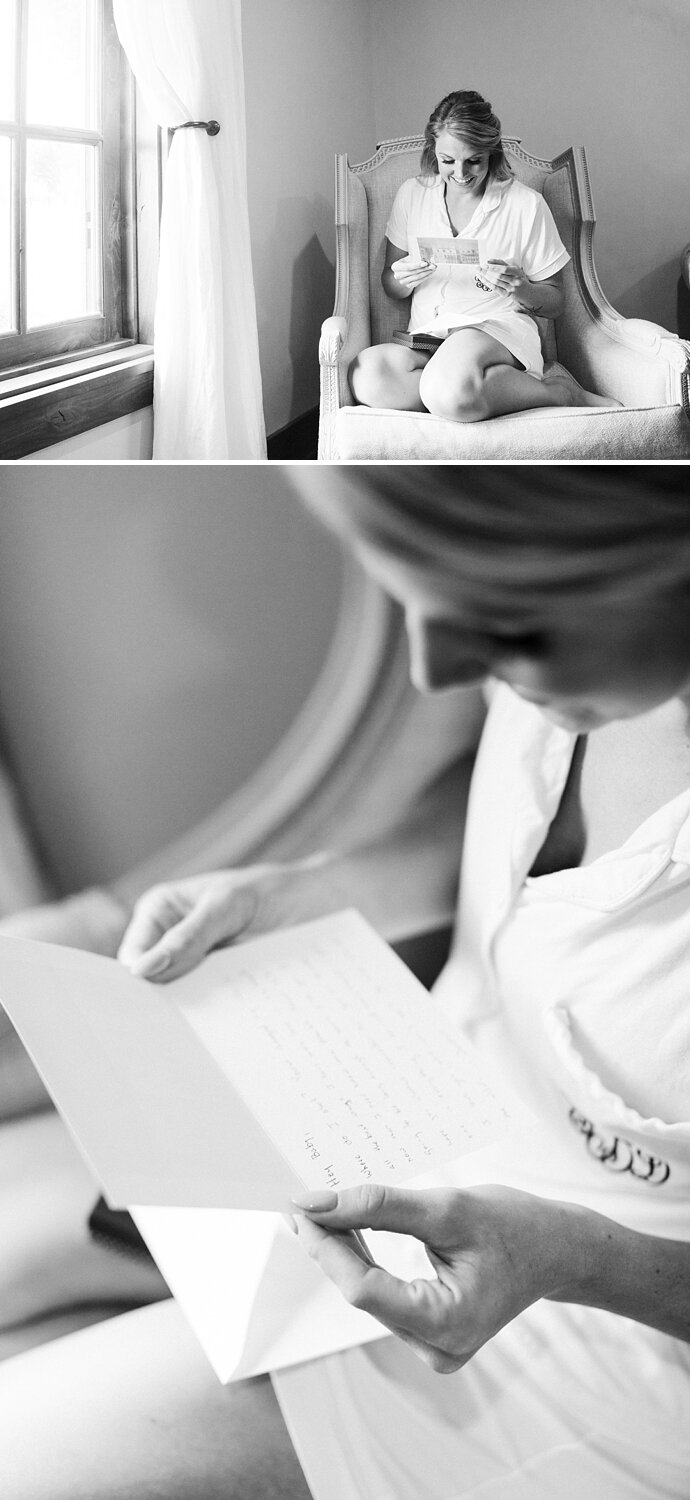 bride reads letter from her groom on wedding day