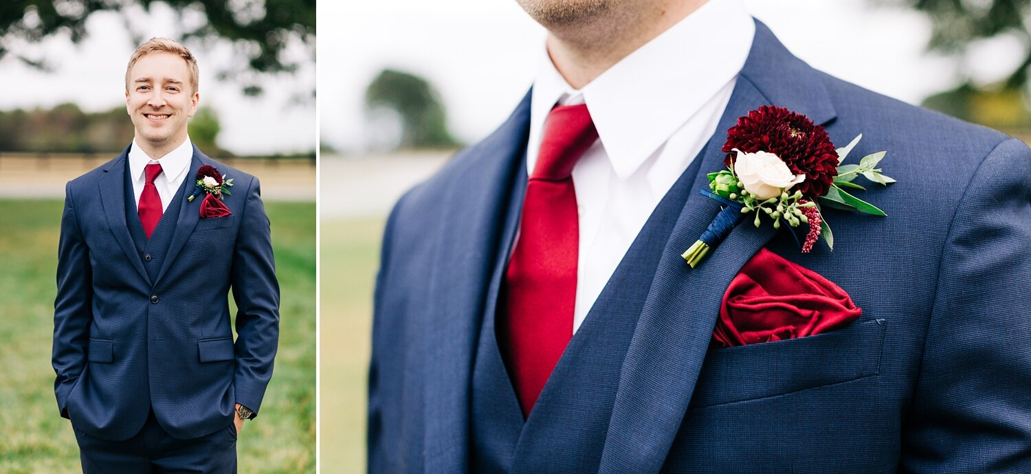 navy and burgundy groom suit