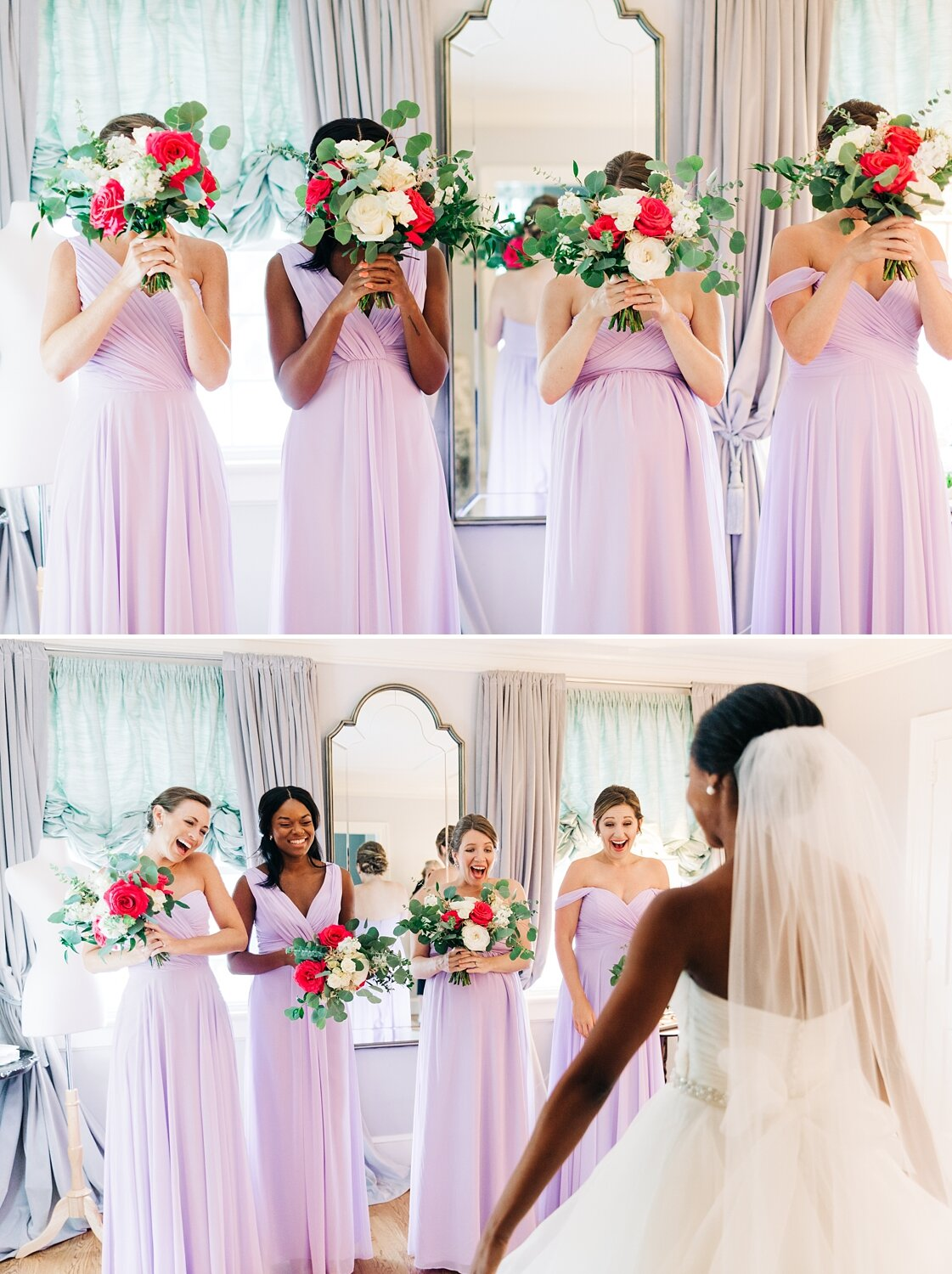 bride shares a first look with her bridesmaids