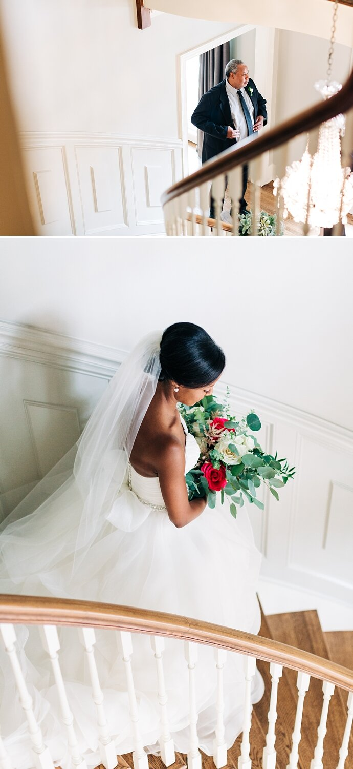 bride shares a first look with her dad