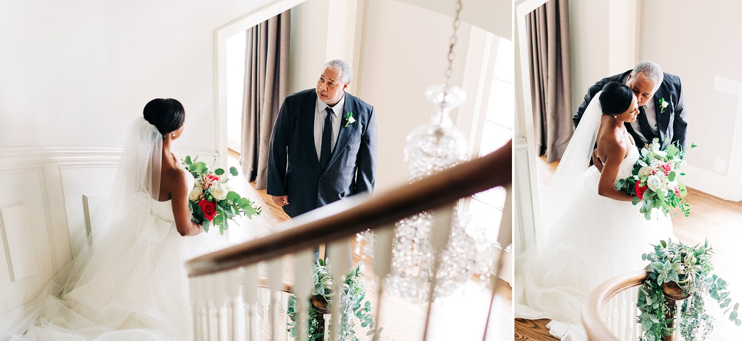 bride shares first look with her dad on wedding day