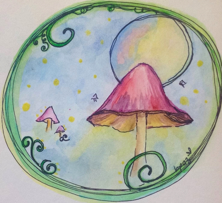 The Magic of Mushrooms. Watercolour - Markers.