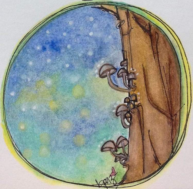One Magical Night. Watercolour - Markers.