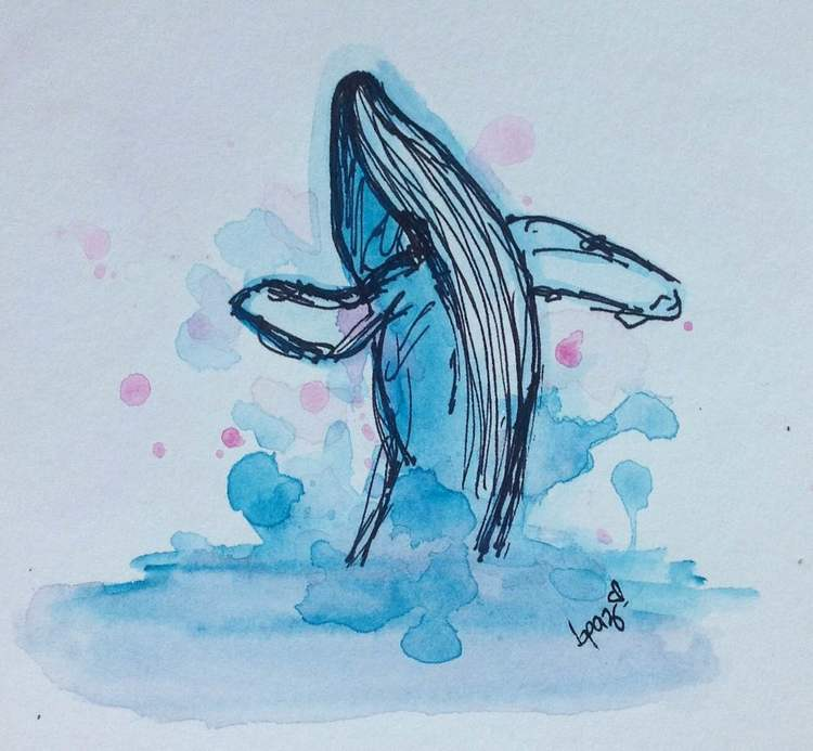 Whale. Watercolours - Markers.