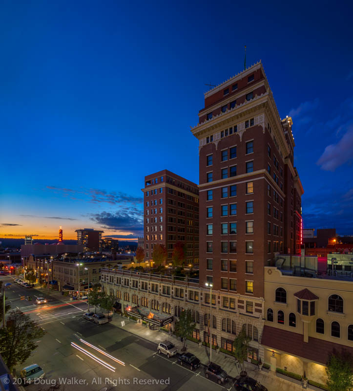 The final dusk image from our Architectural Photography Workshop presented at the  Davenport Hotel in downtown Spokane, Washington.