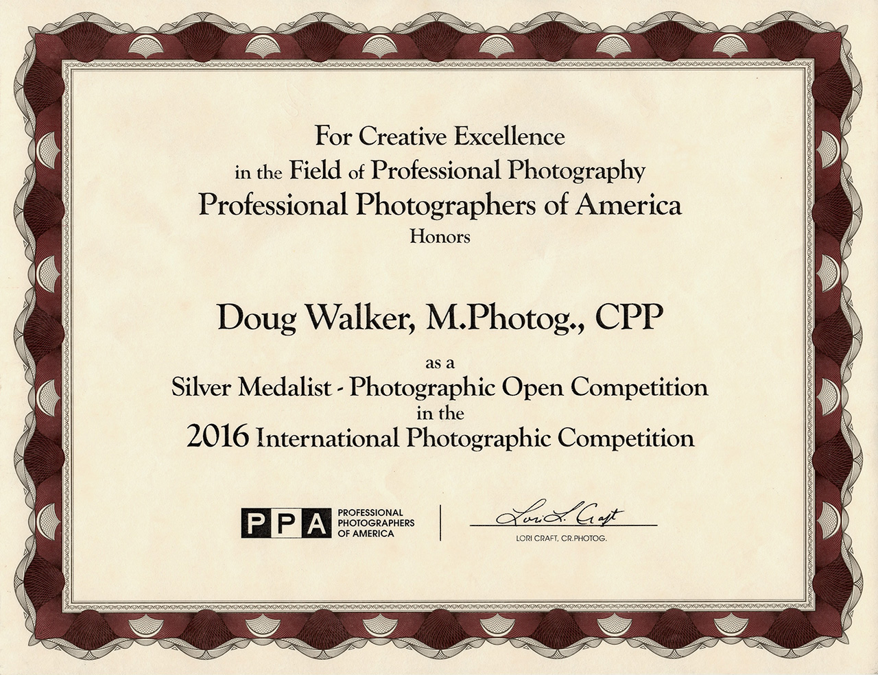 2016 - ' Silver Medalist'  - International Photographic Competition, Professional Photographers of America