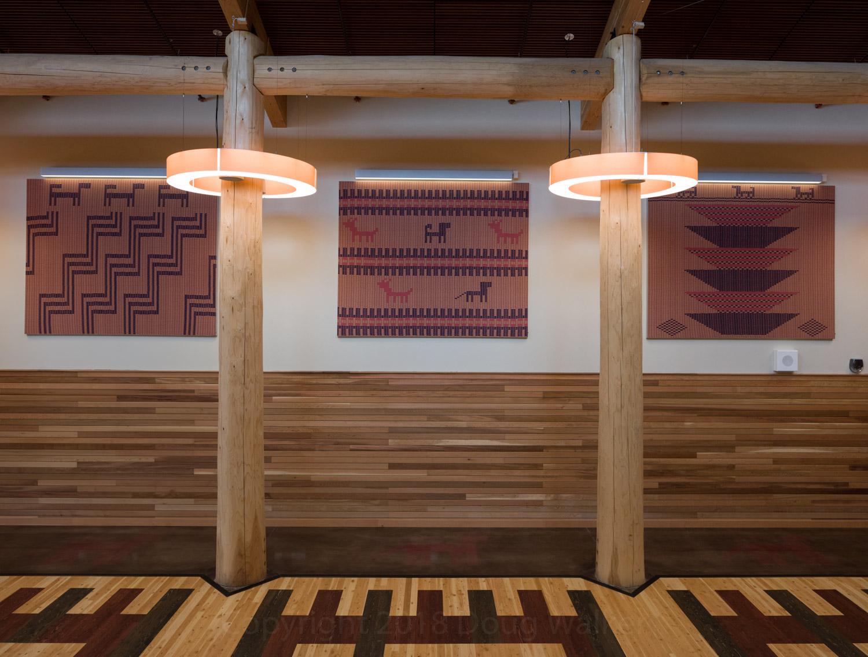 Gathering space features artwork using traditional Skokomish basket patterns,