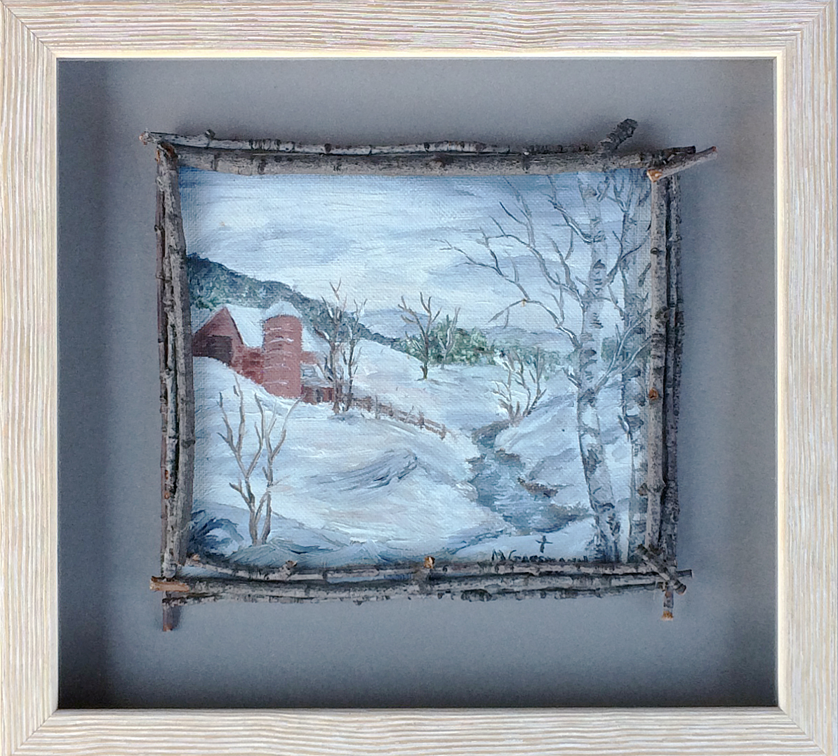 Winter landscape oil painting in artist-made birch twig frame.  To highlight and protect this delicate artwork, it was float mounted on a neutral grey mat board and placed in a simple white shadowbox frame.