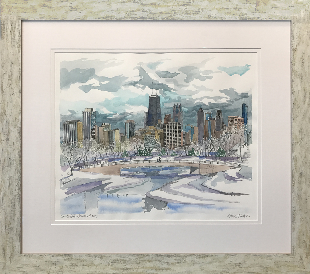 This watercolor of Lincoln Park and the Chicago skyline was commissioned by the customer as a one year anniversary present.  Created by Chicago artist Steve Slaske, the painting depicts the customer proposing to his wife on the lagoon bridge in the midst of this spectacular setting.