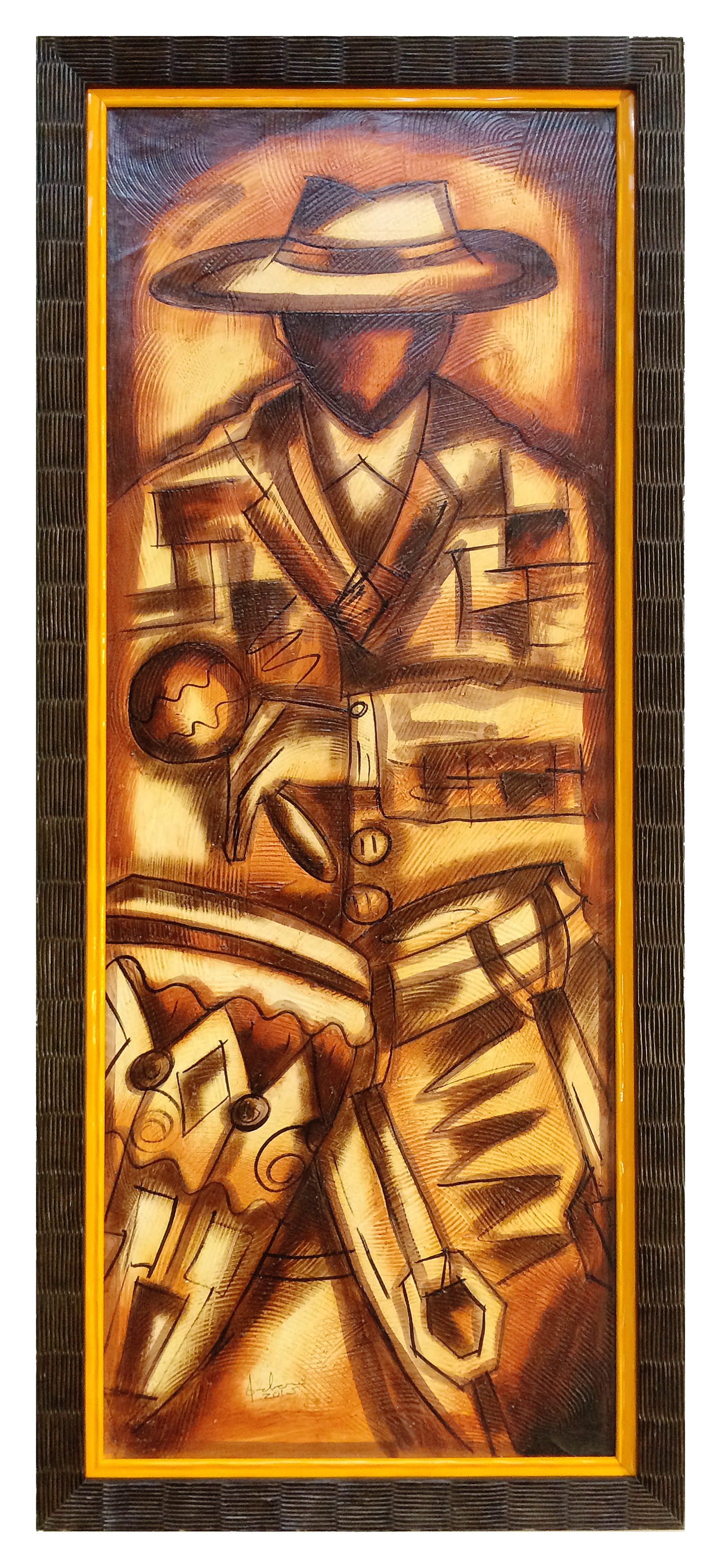 This oil painting of a Cuban jazz musician is framed in a stacked frame (two mouldings put together).  The texture of the outer frame mimics the surface textures of the artwork, while the glossy yellow inner frame coordinates with the golds and yellows of the piece.